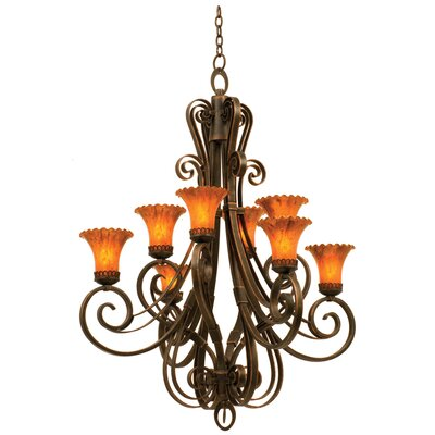 Mirabelle 8-Light Shaded Chandelier Finish: Antique Copper, Shade Type: Travertine