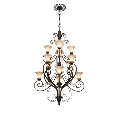 Mirabelle 12-Light Shaded Chandelier Finish: Antique Copper, Shade Type: Travertine