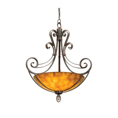 Mirabelle 6-Light Pendant Finish: Antique Copper, Shade Type: Gold Streaked Amber