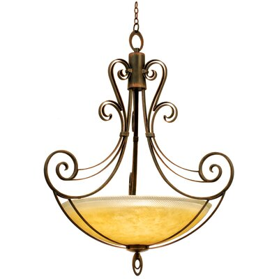 Mirabelle 6-Light Pendant Finish: Antique Copper, Shade Type: Gold-streaked Amber