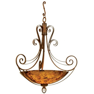 Mirabelle 6-Light Pendant Finish: Antique Copper, Shade Type: Iridescent Shell
