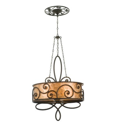 Windsor 4-Light Drum Chandelier Finish: Antique Copper, Shade: Tea stained mica shade