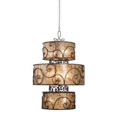 Windsor 12-Light Drum Chandelier Finish: Antique Copper, Shade: Tea stained mica shade