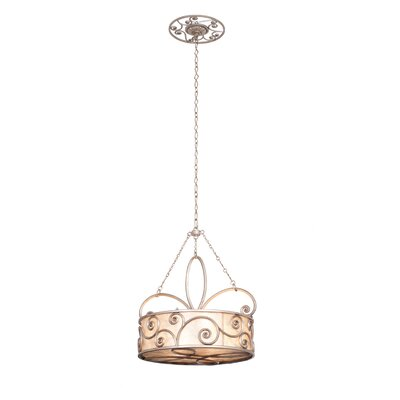 Windsor 4-Light Drum Pendant Finish: Aged Silver, Shade: Shade, Silver Mica