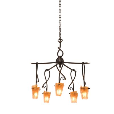Preston 5-Light Shaded Chandelier Finish: Tortoise Shell, Shade: Tribecca Small Milky Side Glass