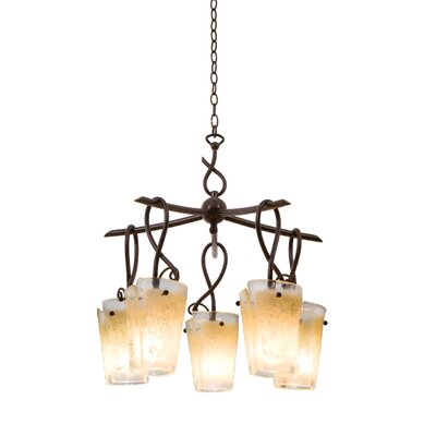 Preston 5-Light Shaded Chandelier Finish: Tortoise Shell, Shade: Tribecca Frost Side Glass