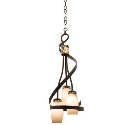 Monaco 3-Light Shaded Chandelier Finish: Antique Copper, Shade: Monaco Opal Pearl Side Glass