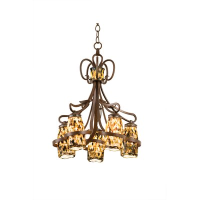 Monaco 5-Light Shaded Chandelier Finish: Antique Copper, Shade: Monaco Opal Pearl Side Glass
