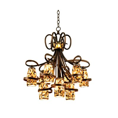 Monaco 9-Light Shaded Chandelier Finish: Antique Copper, Shade: Monaco Black Lip Side Shade