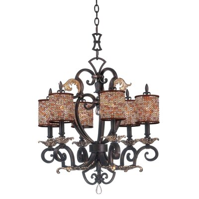 Chesapeake 6-Light Shaded Chandelier Finish: Antique Silver Leaf, Shade: Clear Beaded Drum