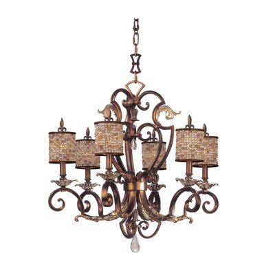 Chesapeake 6-Light Shaded Chandelier Finish: Sienna Bronze, Shade: Color Beaded Drum