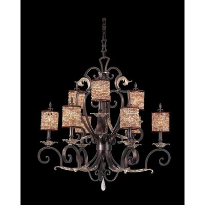 Chesapeake 9-Light Shaded Chandelier Shade Type: Color Beaded Tapered, Finish: Tuscan Gold