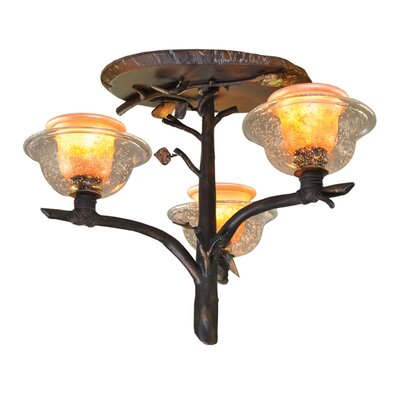 Cottonwood 3-Light Semi Flush Mount Finish: Sienna Bronze, Shade: Calcite Shade