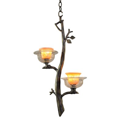 Cottonwood 2-Light Mini Pendant Finish: Aged Silver, Shade: Hand Painted Art Glass