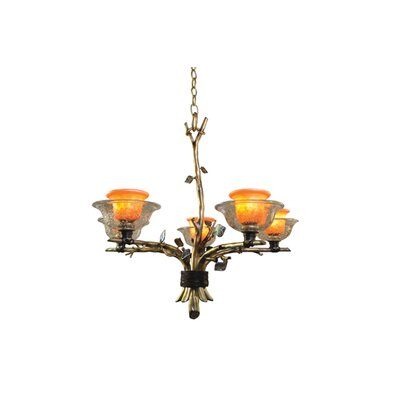 Cottonwood 5-Light Shaded Chandelier Finish: Aged Silver, Shade: Hand Painted Art Glass