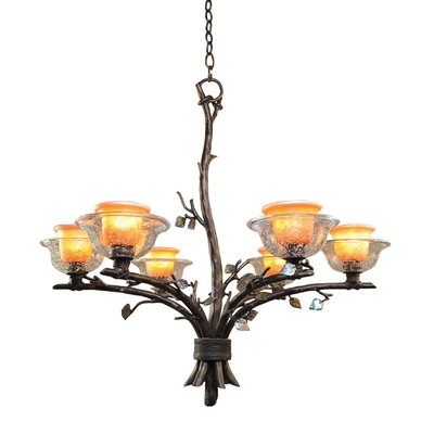 Cottonwood 6-Light Shaded Chandelier Finish: Aged Silver, Shade: Hand Painted Art Glass