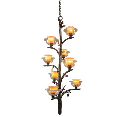 Cottonwood 8-Light Shaded Chandelier Finish: Aged Silver, Shade: Hand Painted Art Glass