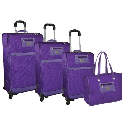 Adrienne Vittadini Quilted 4 Piece Luggage Set - Color: Purple at Sears.com