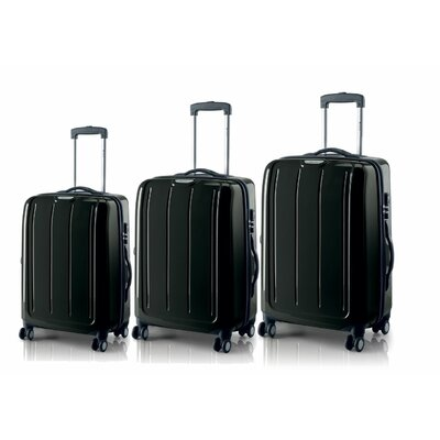 Carlton Travel Goods Adventura Polycarbonate Spinner Trolley 3 Piece Luggage Set - Color: Black at Sears.com