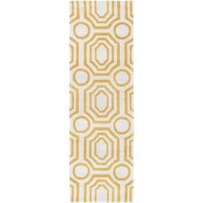 Hudson Park Hand-Tufted Gold Area Rug Rug Size: Runner 26 x 8