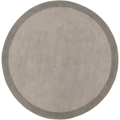 Madison Square Light Gray/Charcoal Solid Area Rug Rug Size: Round 8