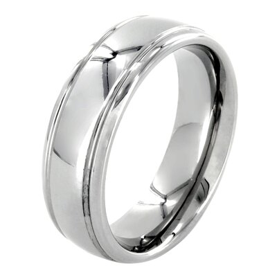 West Coast Jewelry Men's Tungsten Grooved Domed Comfort Fit Ring - Size: 6.5 at Sears.com
