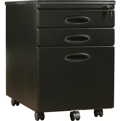 Kepley 3-Drawer Mobile Vertical Filing Cabinet Finish: Champagne/Black 583A6EEFD03A4138BE63436624D72681