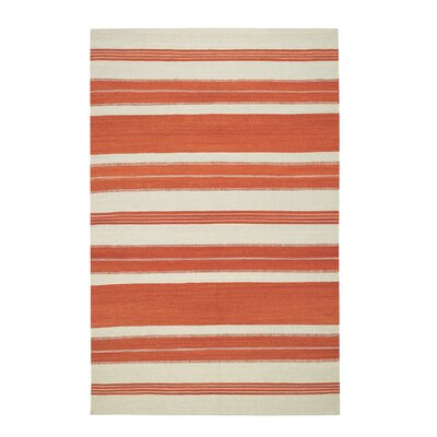 Jagges Stripe Orange Outdoor Area Rug Rug Size: 3 x 5