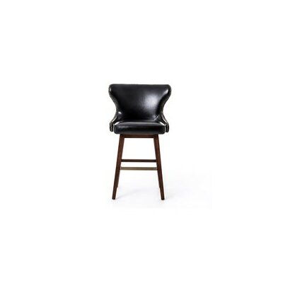 Currey Swivel Bar Stool Finish: Dark Brown, Upholstery: Leather - Black