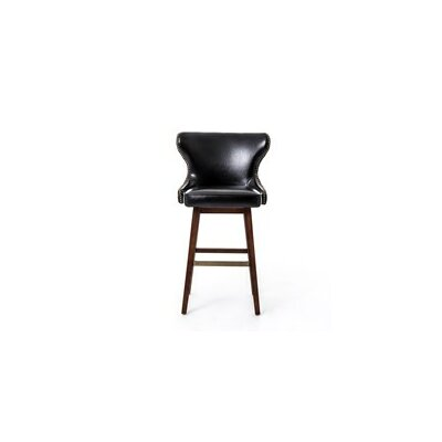 Julie 30.5 Swivel Bar Stool Finish: Dark Brown, Upholstery: Leather - Black