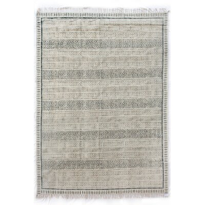 Astin Block Print Hand Knotted Cotton Black/Beige Area Rug Rug Size: Rectangle 83 x 103