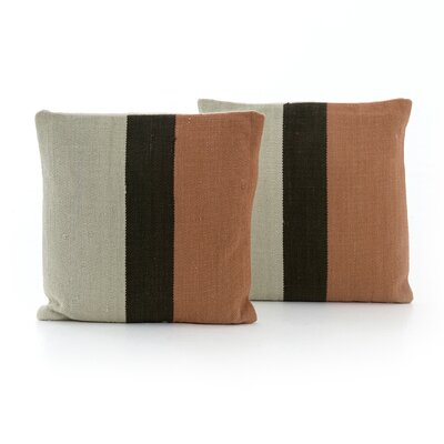 Natalee Block Stripe Throw Pillow Color: Rust