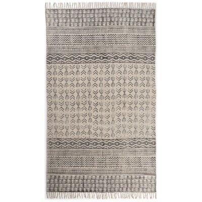 Astin Faded Hand Knotted Cotton Black/Beige Area Rug