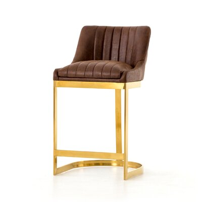 Kora Bar Stool Color: Gold, Upholstery: Brown