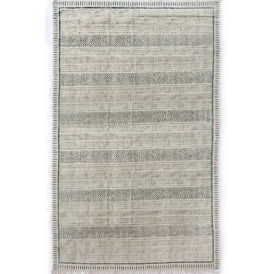 Astin Block Print Hand Knotted Cotton Black/Beige Area Rug Rug Size: Rectangle 9 x 121