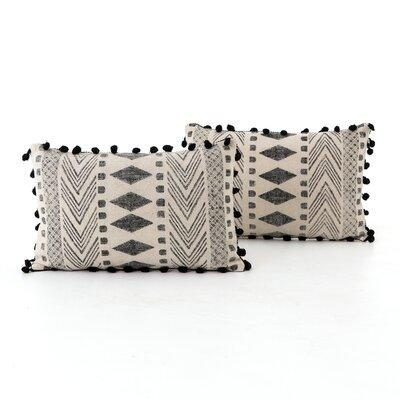 Astin Faded Block Print Cotton Lumbar Pillow