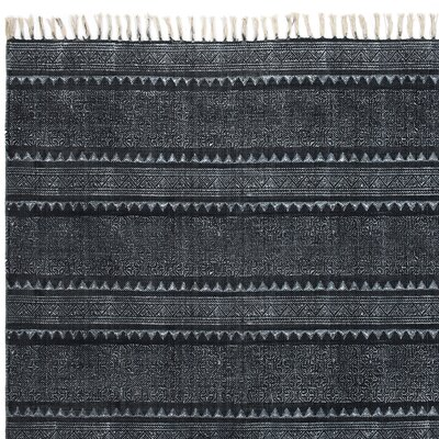 Astin Block Print Hand Woven Cotton Black/Denim Area Rug Rug Size: Rectangle 9 x 121