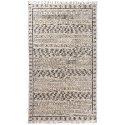 Astin Block Print Hand Knotted Cotton Black/Beige Area Rug Rug Size: Rectangle 410 x 81