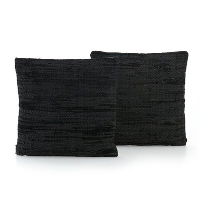 Slyvia Stitch Leather Throw Pillow Color: Black
