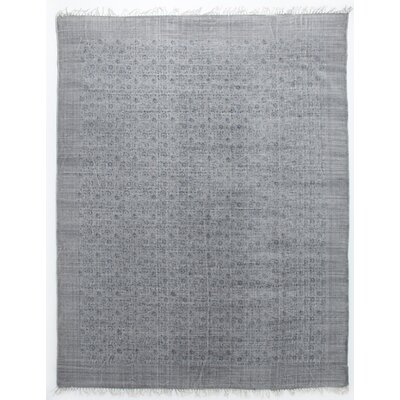 Slyvia Hand Knotted Cotton Gray Area Rug Rug Size: Rectangle 83 x 103