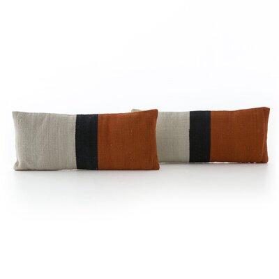 Natalee Block Stripe Lumbar Pillow Color: Red