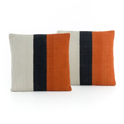 Natalee Block Stripe Throw Pillow Color: Red