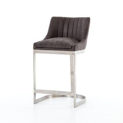Kora Bar Stool Color: Silver, Upholstery: Gray