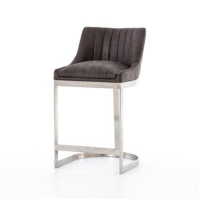 Kora Bar Stool Color: Silver, Upholstery: Gray