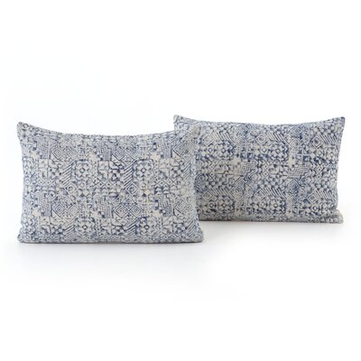 Astin Faded Mosaic Print Cotton Lumbar Pillow