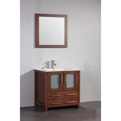 Nevels 30 Single Bathroom Vanity Set with Mirror Base Finish: Cherry