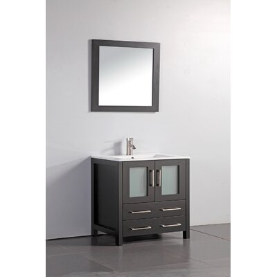 Nevels 30 Single Bathroom Vanity Set with Mirror Base Finish: Espresso