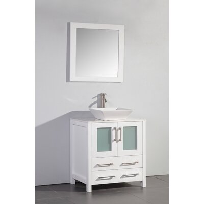 Camillo 30 Single Bathroom Vanity Set with Mirror Base Finish: White