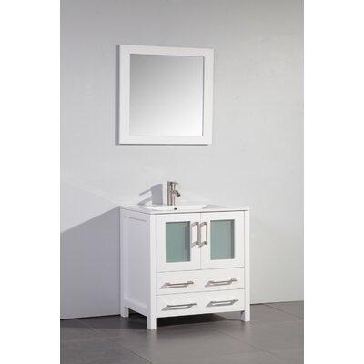Nevels 30 Single Bathroom Vanity Set with Mirror Base Finish: White