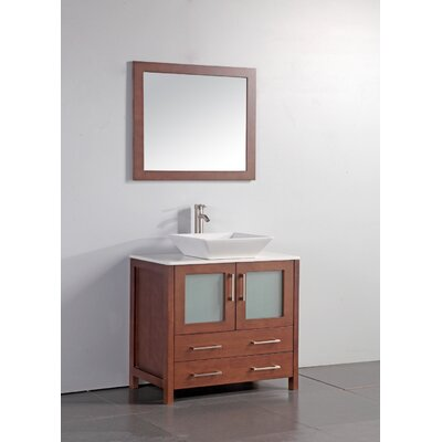 Neuhaus 36 Single Bathroom Vanity Set with Mirror Base Finish: Cherry
